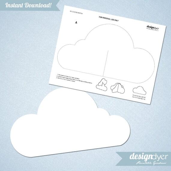 3d cloud printable decoration template by designdyer on etsy