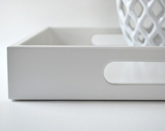 Light Gray Lacquered 14 x 18 Serving Tray, Coffee Table Tray, Gray Home Decor, Ottoman Tray