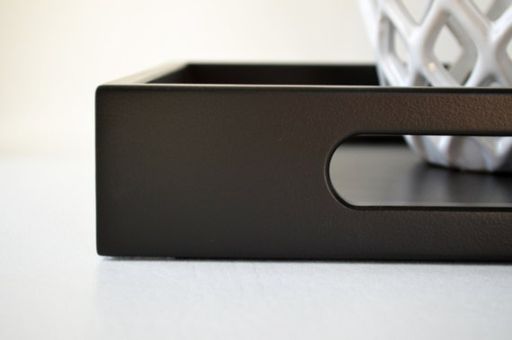 Black 12 X 12 Square Wood Serving Tray Office Decor