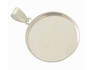 Free shipping Bezel Cup Tray with Bail Sterling Silver 925 Setting 12mm-20mm for your choose  depth: