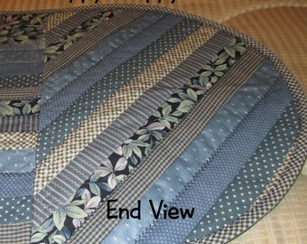 TABLE RUNNER BLUE Scrappy Strippy Long Runner Country Home Décor