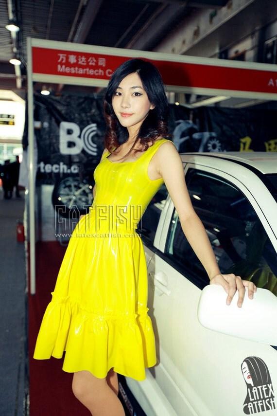latex dress Yellow