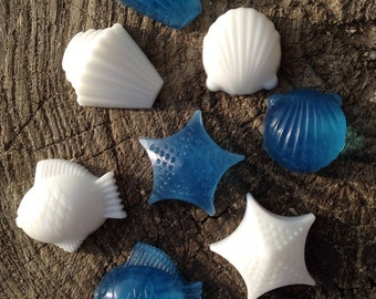 48 Qty - Sea Shells and Fish, Nautical, Under the Sea, Beach theme SOAP FAVORS