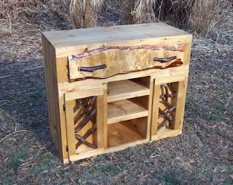 Rustic Handmade Sideboard Buffet Media Stand Log Cabin Adirondack Furniture by J. Wade, golden pine
