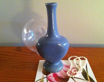 "Vintage Art Pottery, Rare Zanesville Stoneware ""Rosemary Cologne"" Perfume Bottle, ""Delph"" Blue Glaze, Pottery Vase, FREE SHIPPING"