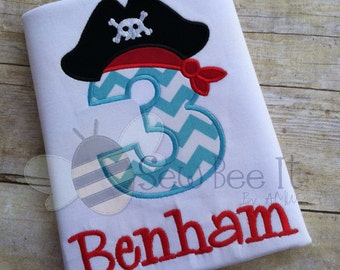 Argh Matey! Pirate Birthday Number Applique Tee Shirt or Bodysuit