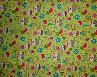 Green Pastel Owl Cotton Fabric by the Yard
