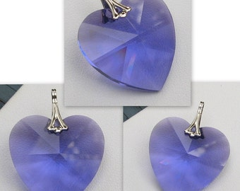 Swarovski Strass Crystal Heart Blue Purple 28mm Pendant  8781
