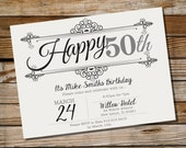 Vintage Frame Birthday Invitation - 16th 21st 30th 40th 50th 60th invitation - Instant Download and Edit with Adobe Reader - Print at Home!