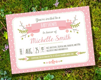 Flowers and Polka Dots Baby Shower for a Girl Invitation - Instantly Downloadable and Editable File - Personalize at home with Adobe Reader