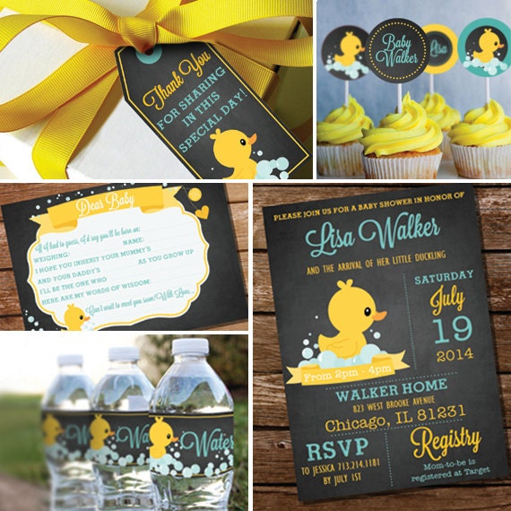 chalkboard rubber duck baby shower theme unisex baby shower