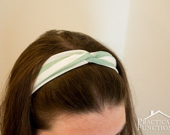 Twist Turban Headband - Aqua/white stripes - Crepe chiffon, elastic at back, stretch to fit - Adult and child sizes available