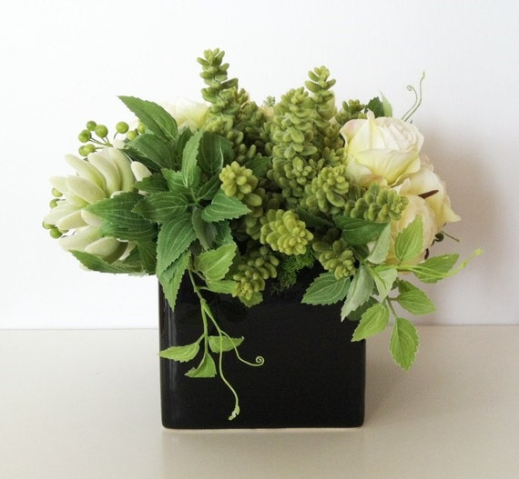 Floral Arrangement Succulent Arrangement Ivory Green