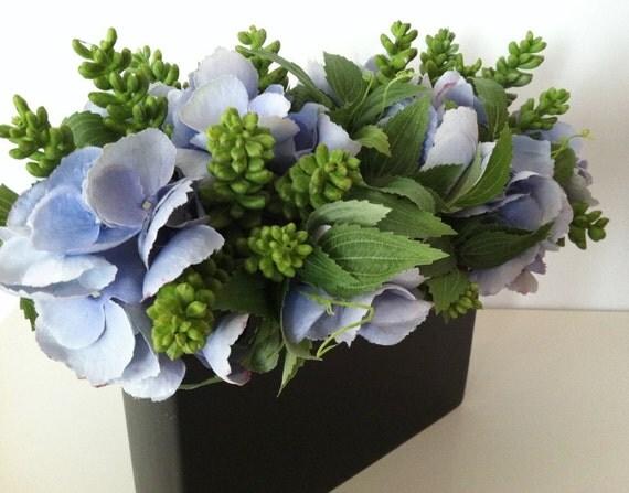 Modern Artificial Succulent Floral Arrangement Periwinkle