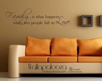 Family room wall art - Family room wall decal - Love wall art - Family wall quote - Love wall decal - home decor - fall in love - wall art
