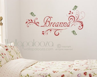 Butterfly wall decal - girls custom name decal - butterfly decal - girls bedroom wall decal