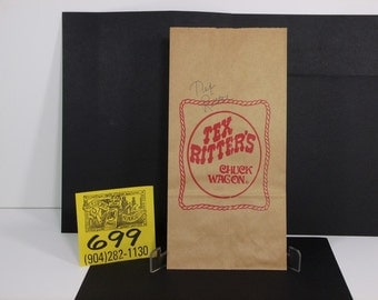 1960's Tex Ritter Restaurant Paper Bag – Autographed by him