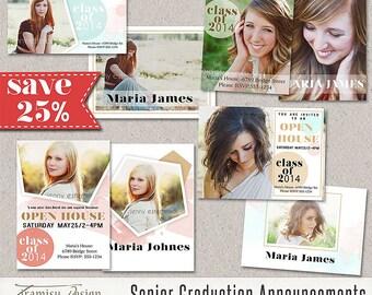 Senior Graduation Announcement Card 7x5in Photoshop Template,Photoshop Template for Photographers,Photo Card Template,sku21-5