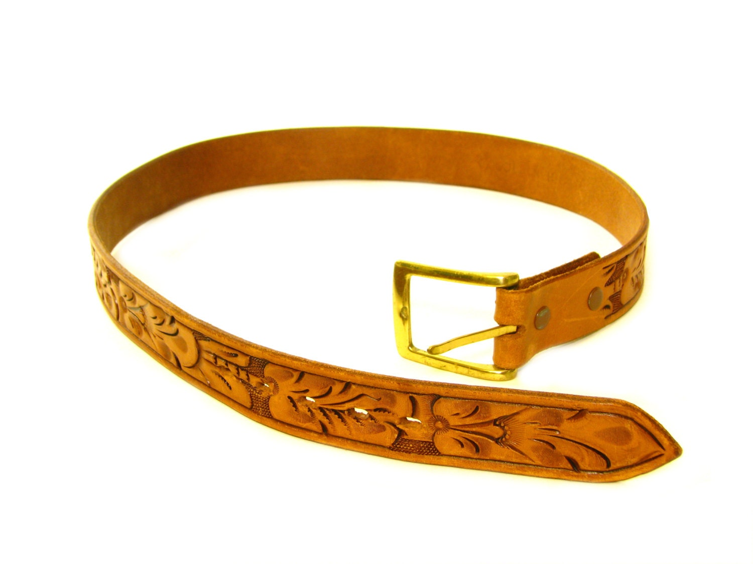 vintage tooled belt tooled leather size by