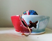 Yarn Bowl, Candy Apple Red and Robin Egg Butterfly