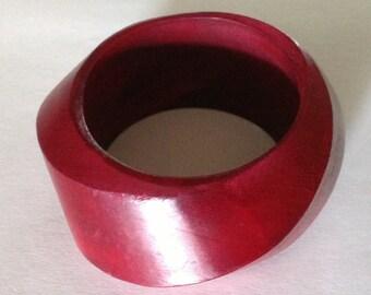 Vintage Crimson Wood Asymetrical Bangle Bracelet