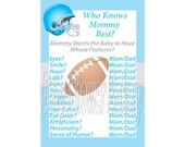 Football Baby Shower Game, Sports Theme Baby Shower Game, Blue Football Theme Baby Shower Boy, Who Knows Mommy Best, Instant Download Game