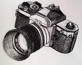 Analog Camera, Pen and Ink illustration print