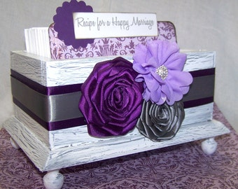 Bridal Shower Guest Box and Cards- Recipe for a Happy Marriage, Purple, Plum Lilac and Gray, White Shabby chic box