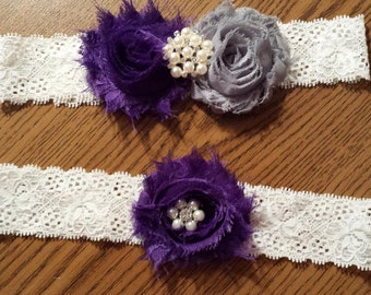 Purple / Grey Wedding Garter -  Bridal Garter Set - Ivory Stretch Lace - Pearl Rhinestone embellishment.  .