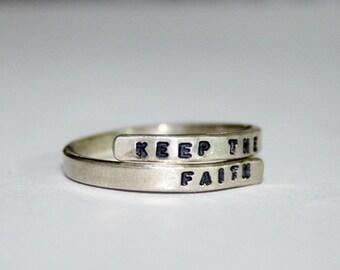 Handstamped Bon Jovi Lyric Ring, 'Keep the faith' Sterling Silver, 925, handmade. Adjustable