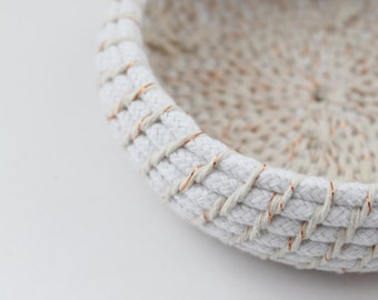 Upcycled 'In Metallics' Rope Basket: Copper / Coiled / Small