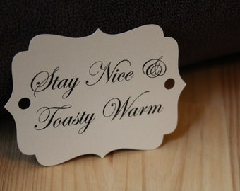 Wedding Tags, Toasty Warm, Wedding Favor Tags, Hang Tags, Wedding Decoration, Favor Tags, Wedding Sign