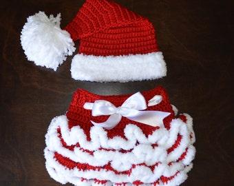 Santa Hat & matching Tutu Handmade Crochet Baby Beanie Hat Photo Prop Custom Made
