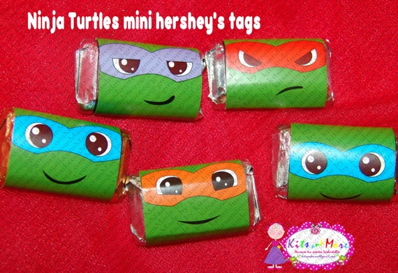 Ninja Turtles mini hershey's wrappers, 4 characters, Instant Download