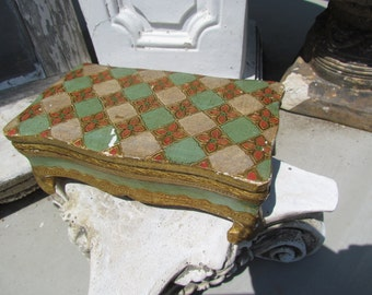 Vintage Florentine  Footed Jewelry  Mint Green Wooden Box