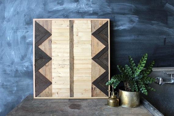 Navajo Tribal Geometric Wood Patterned Wall Panel Art, Reclaimed Barnwood, Pine, Chesnut, Oak,  Arrow Chevron - - Hydrus Pattern