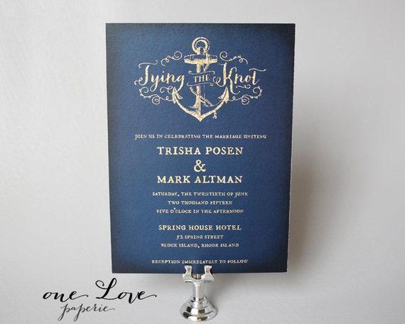Nautical Anchor Wedding Invitation / Nautical Wedding Invitation, Custom Colors! - Starting at