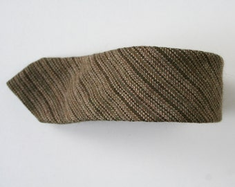 Wool necktie in earthy green // brown, striped wool necktie, vintage necktie