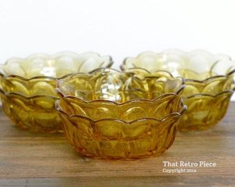 "Anchor Hocking: ""Fairfield"" amber dessert bowls, set of six (circa 1972-1977)"