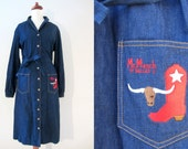 70s Denim Western Shirtdress by Mr Mench of Dallas, S-M // Vintage Day Dress // Cowgirl Dress w/ Sash Belt