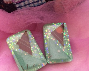 Glitter, Atomic Fabric and Mint Lucite Earrings