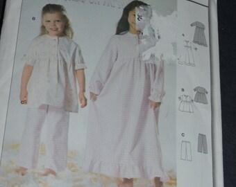 BUrda 9766 Childrens Girls Nightgown and Pajamas Sewing Pattern  - UNCUT - Sizes 3 - 8