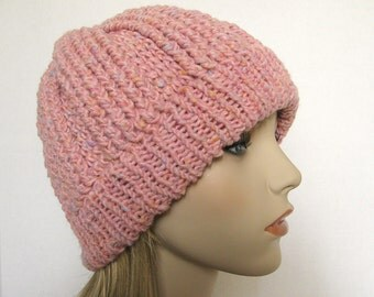 Women's Wool Crochet Hat Pink Tweed with Knit Ribbing - Size Large Crocheted Winter Cap - Womens Pink Wool Winter Hat - Crocheted Hat