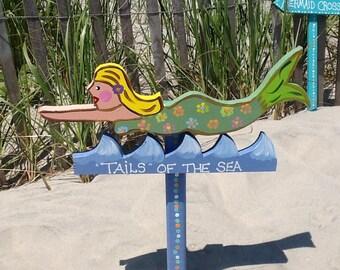 Mermaid beach outdoor sign lawn ornament