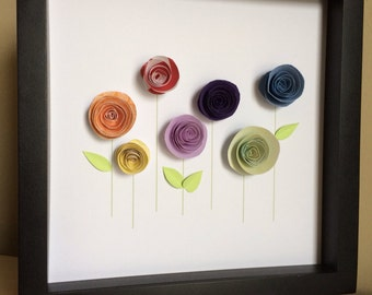 Colorful Paper Rose Garden, 3D Paper Art, Customize with your colors and personalize