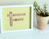 Custom Scrabble Inspired Wall Art Frame Large, Scrabble Inspired Word Art, Fabric Art, Personalised Scrabble Gift, FREE UK SHIPPING