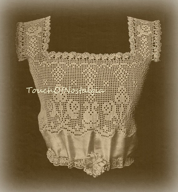 Antique YOKE Antique Crochet Pattern - Edwardian Satin CAMISOLE ...
