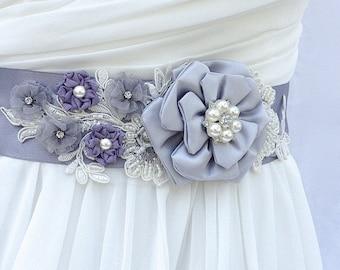 Bridal Sash, Wedding Sash in Grey Lavender with Lace, Pearls And Crystals, Bridal Belt, Wedding Dress Sash, Flower Sash