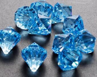 "1"" Light Blue Acrylic Multi-Faceted Diamond Pendants Table Scatter Vase Filler Minecraft Pirate Gems Treasure Jewels HP1084L"
