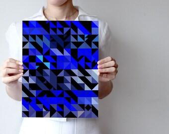 BB - Triangles Art print - Geometric - Wall decor - Night colors